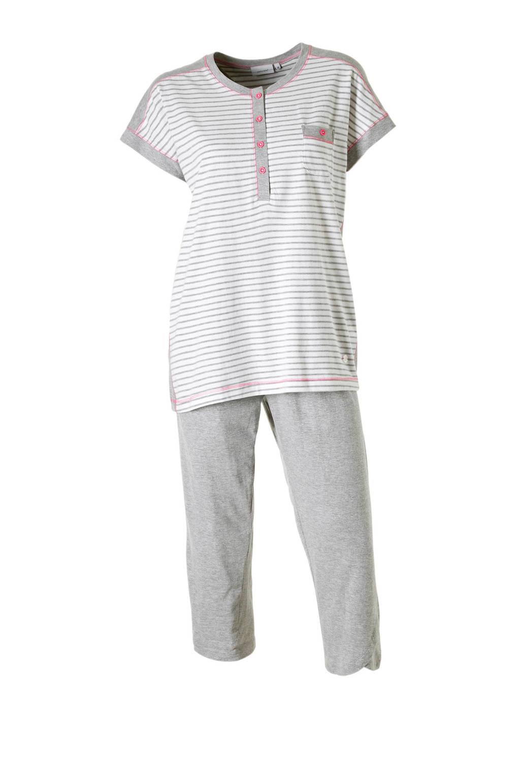 Pastunette pyjama streep grijs/wit, Grijs/wit