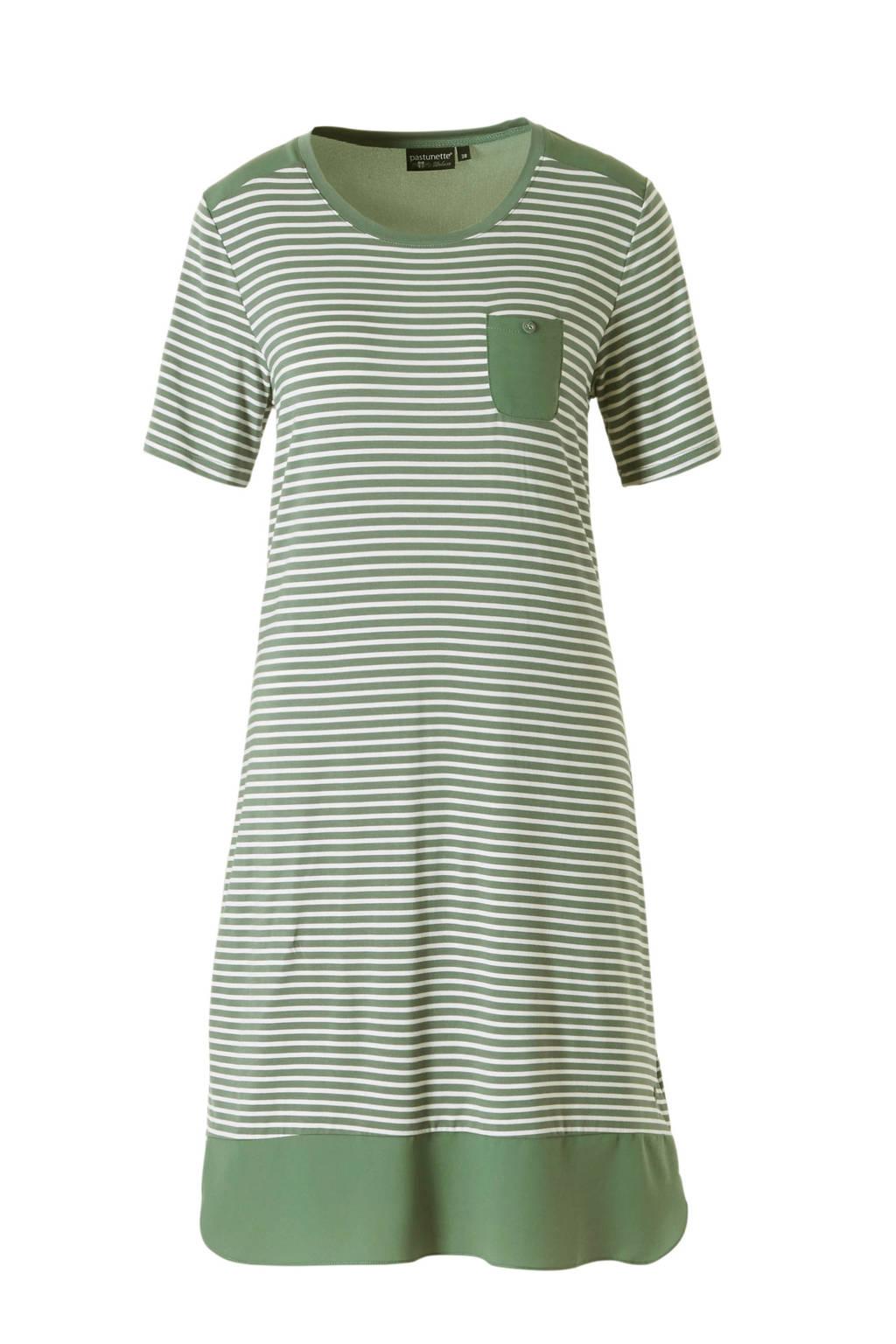 Pastunette nachthemd in all over print groen, Groen/wit