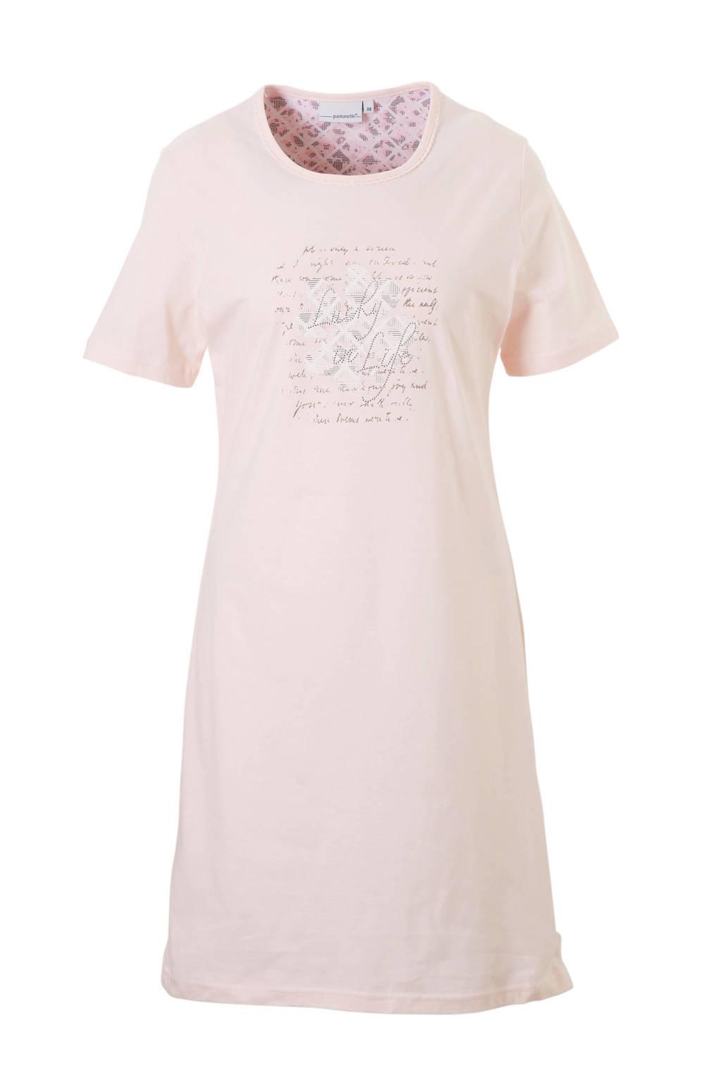 Pastunette nachthemd met printopdruk roze, Zachtroze