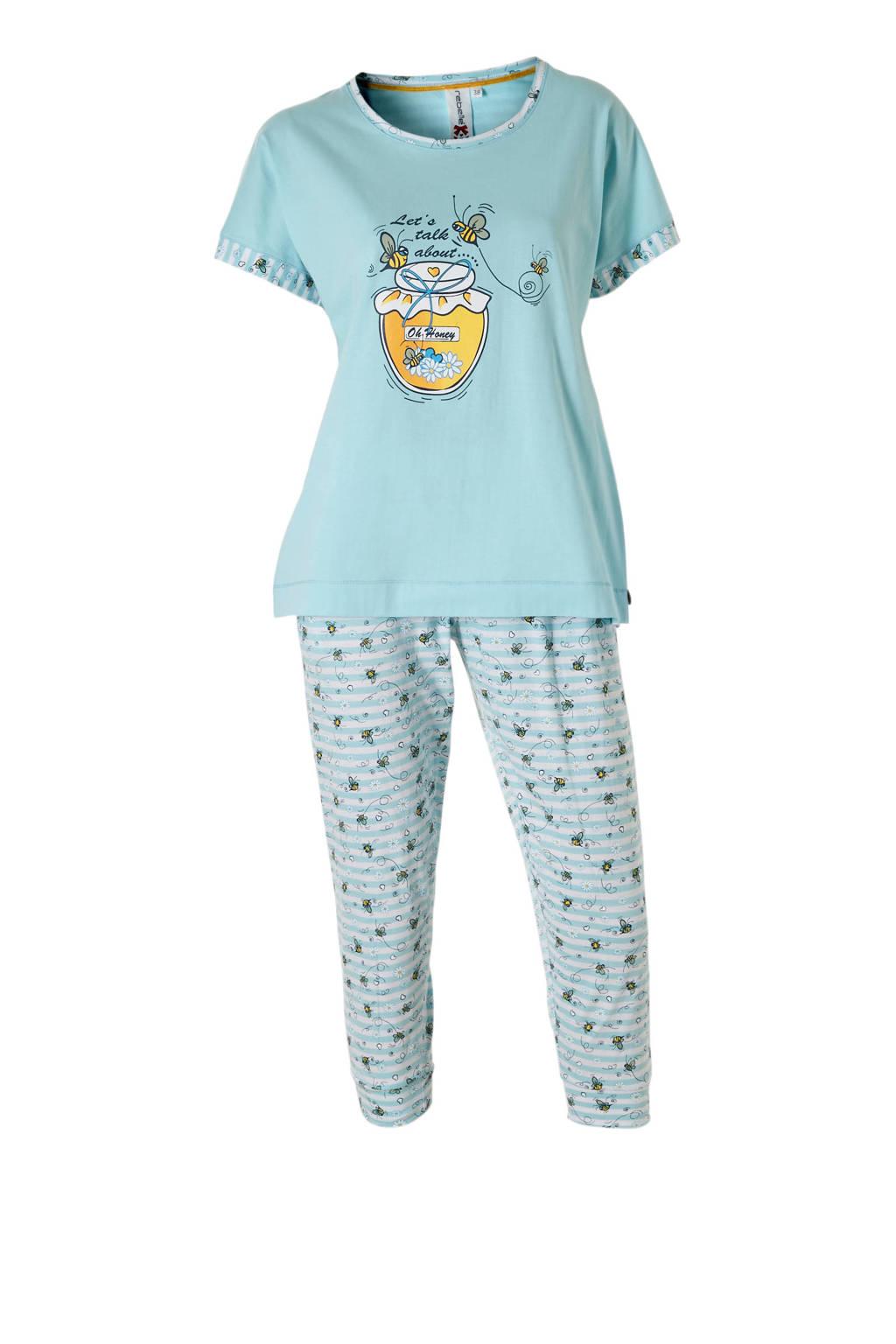 Rebelle pyjama met print blauw, Blauw/wit/geel