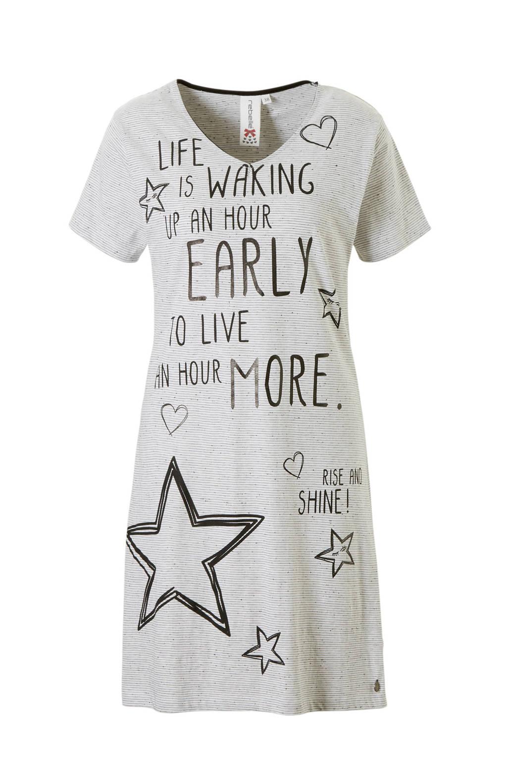Rebelle nachthemd in all over print grijs, Grijs/zand