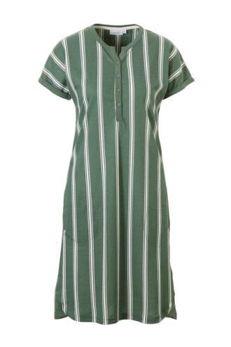 gestreepte nachthemd in een streep print groen