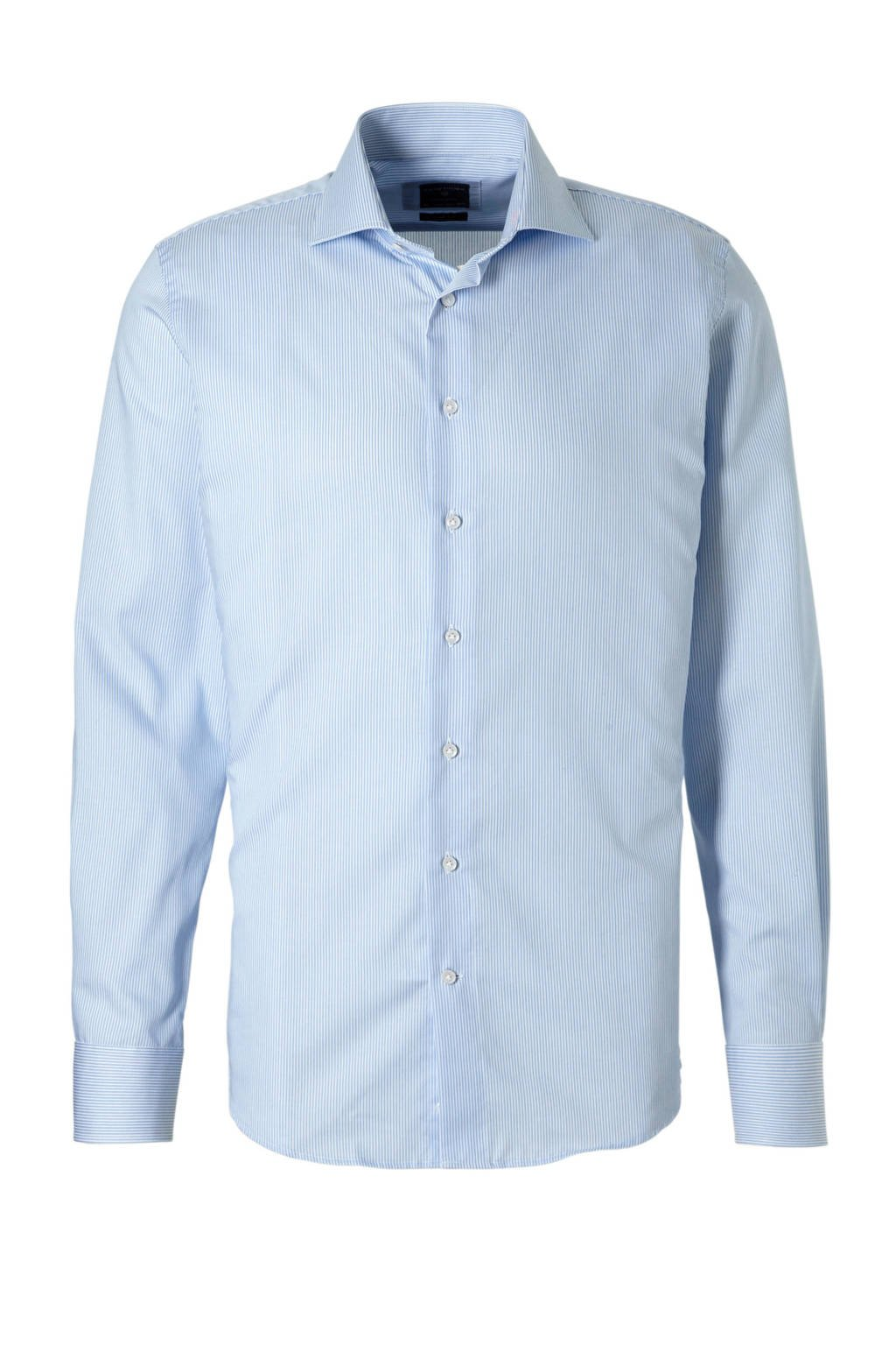 Profuomo slim fit overhemd, Blauw, wit