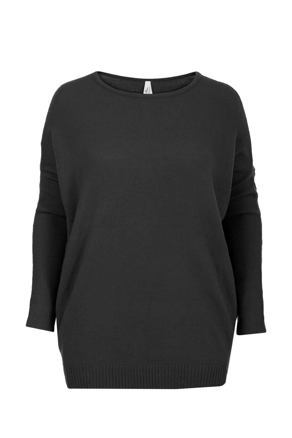 Miss Etam Plus trui zwart, Zwart