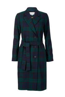 Promiss geruite coat met wol groen (dames)