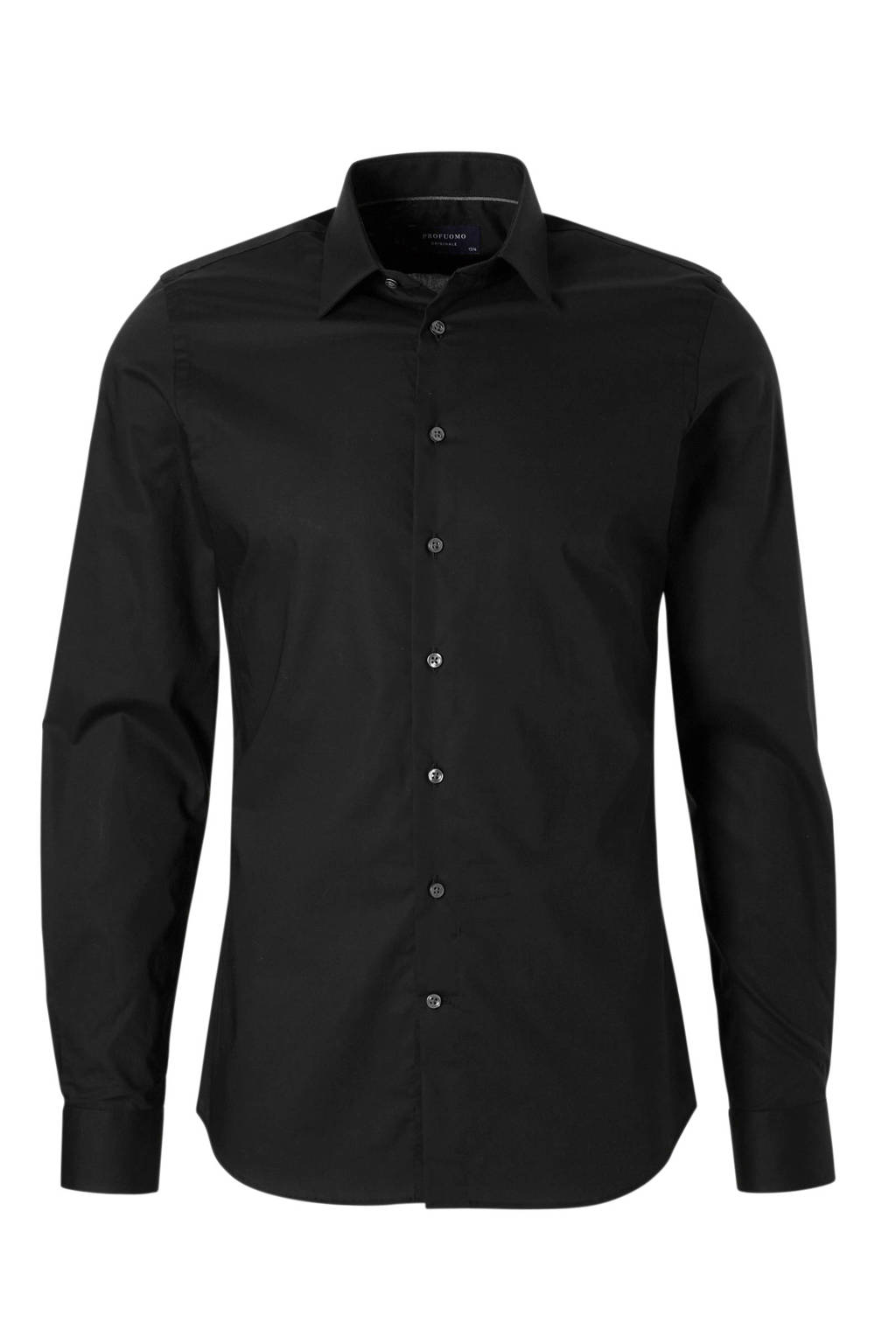 Profuomo super slim fit overhemd, Zwart