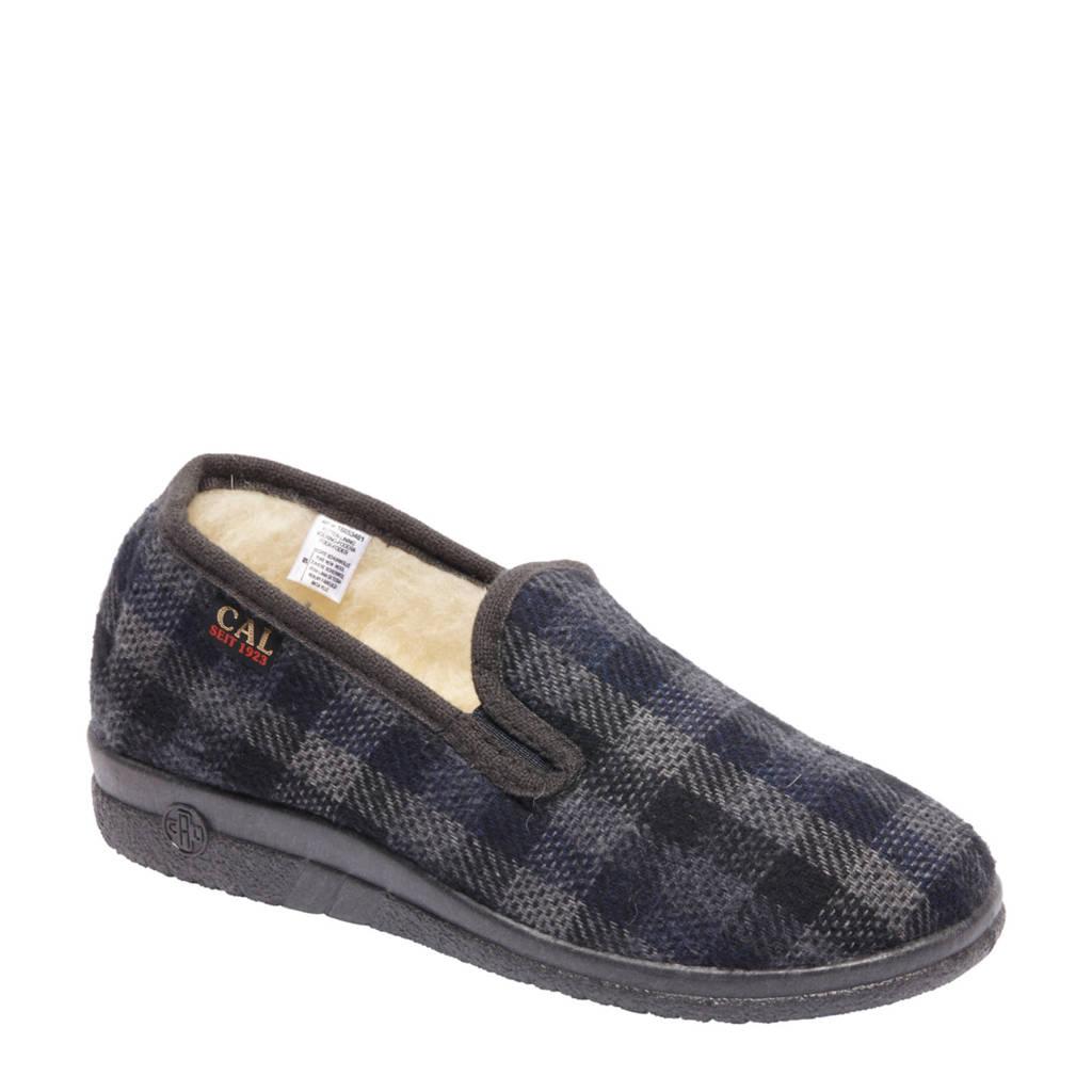 vanHaren Casa Mia geruite pantoffels grijs, Grijs/blauw