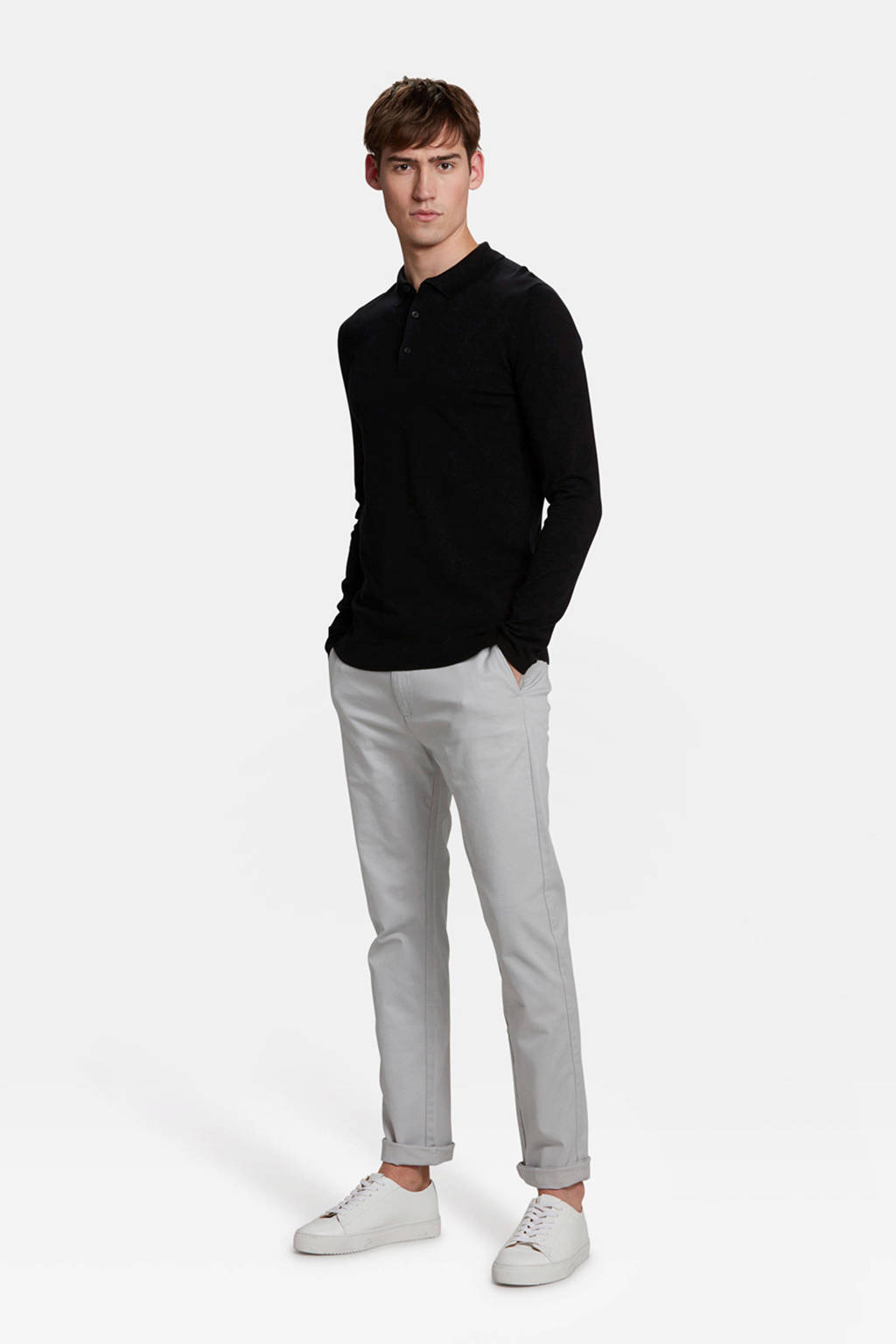 WE Fashion Blue Ridge skinny chino light grey, Light Grey