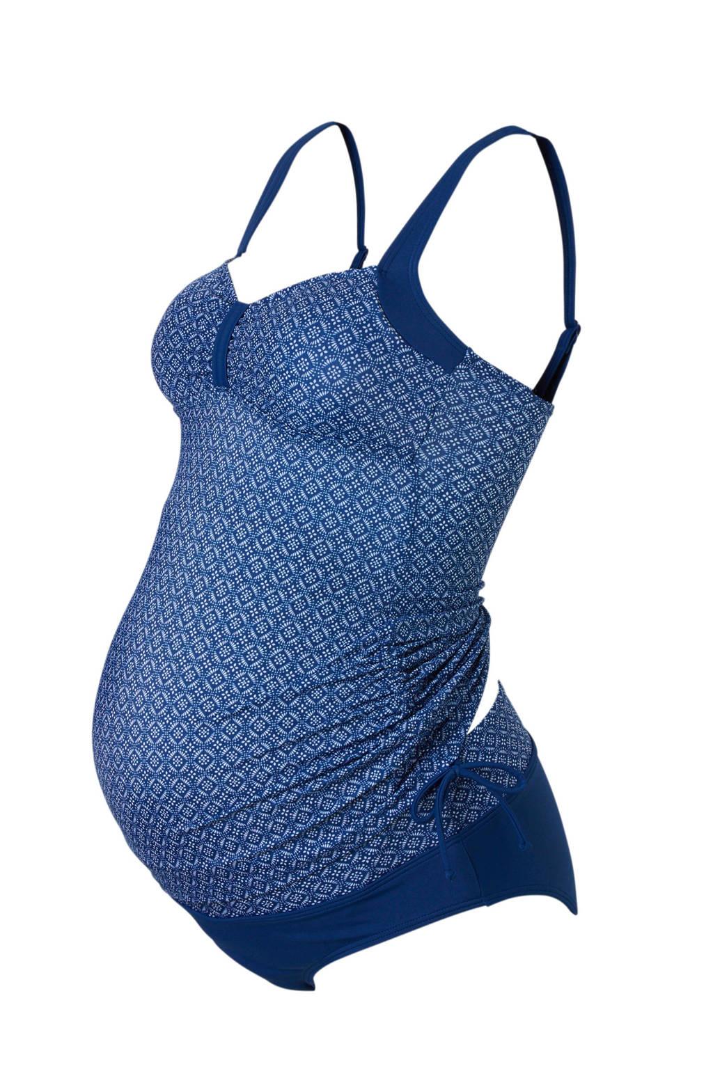 C&A Positiemode zwangerschaps tankini blauw, Blauw/wit