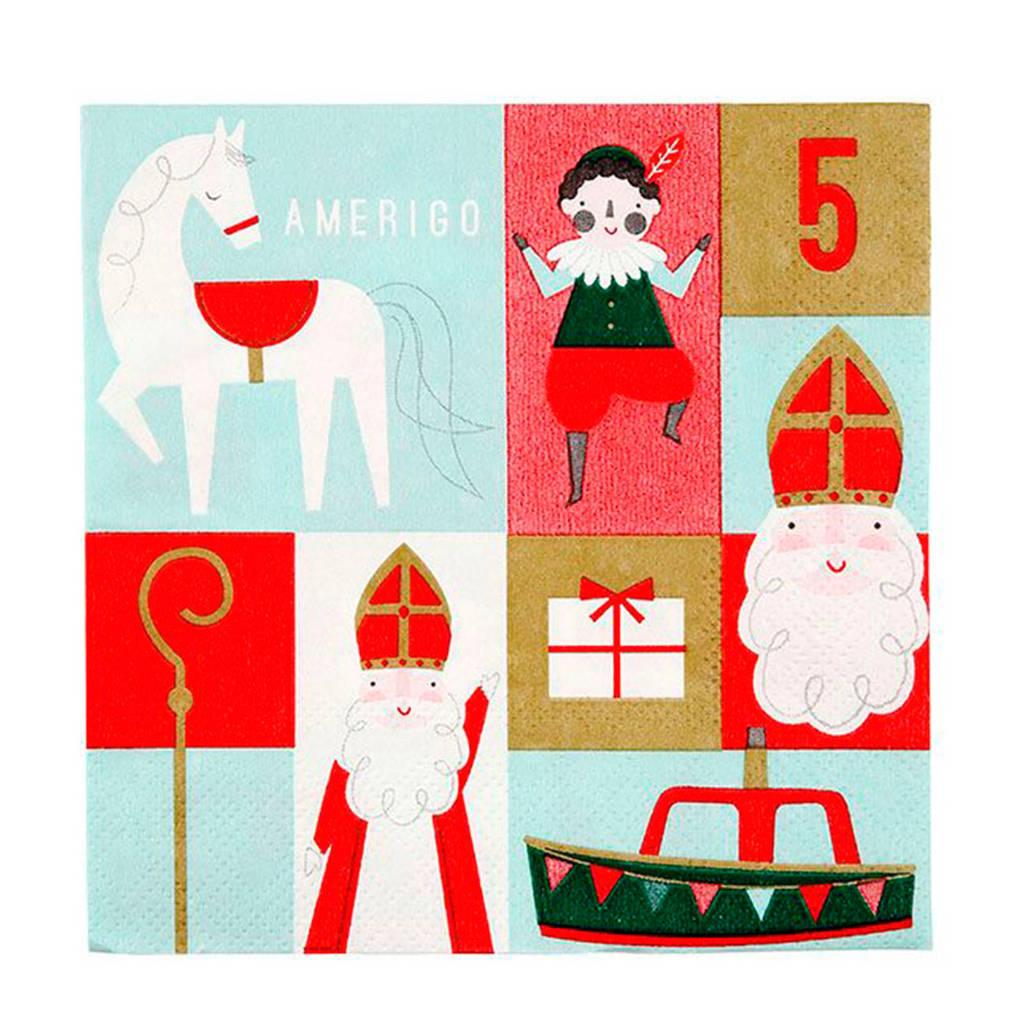 Meri Meri papieren servetten (set van 20), rood/wit/blauw/groen