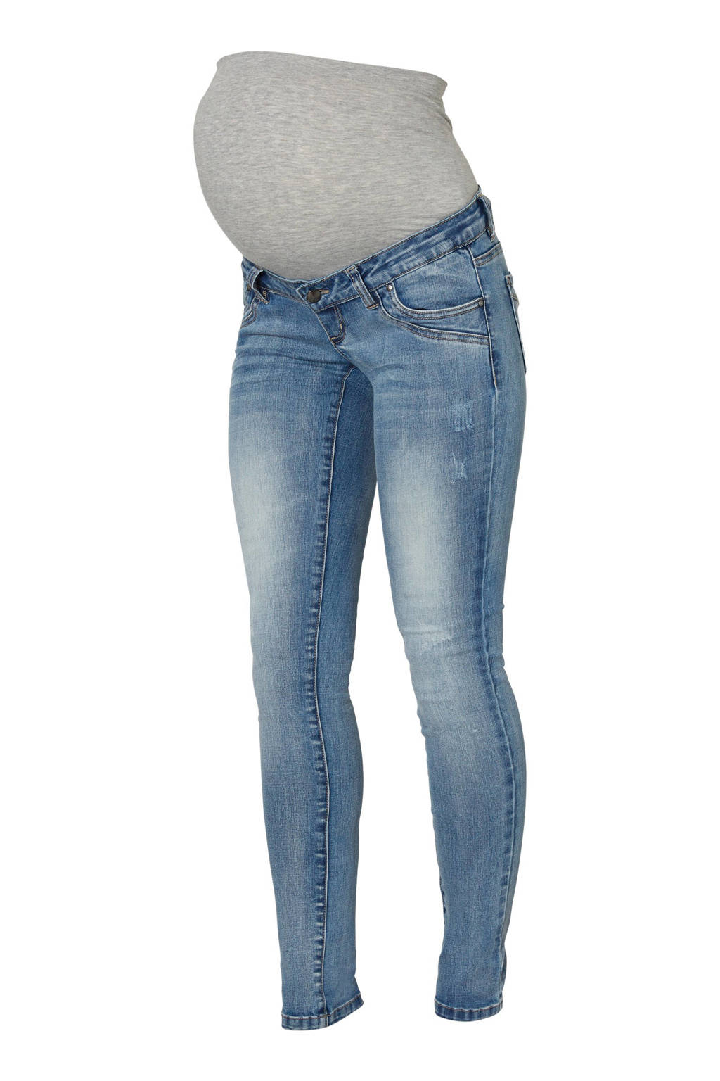 MAMA-LICIOUS slim fit zwangerschapsjeans Santiago, Light stonewashed