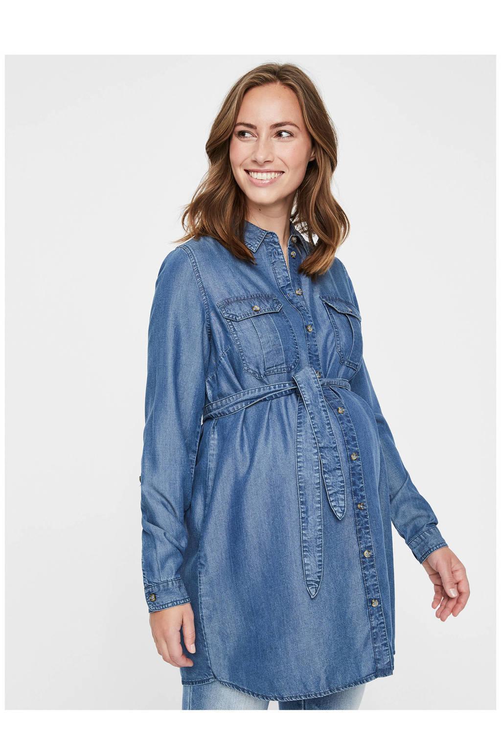 MAMALICIOUS zwangerschap denim blousejurk, Lighy blue denim