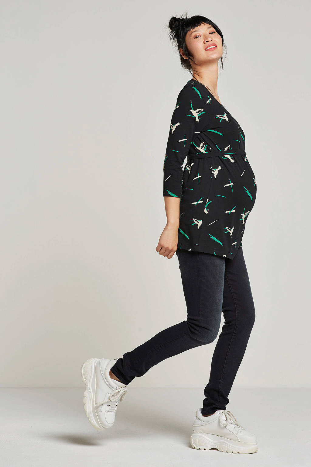 MAMA-LICIOUS top met all-over print, Donkerblauw/groen