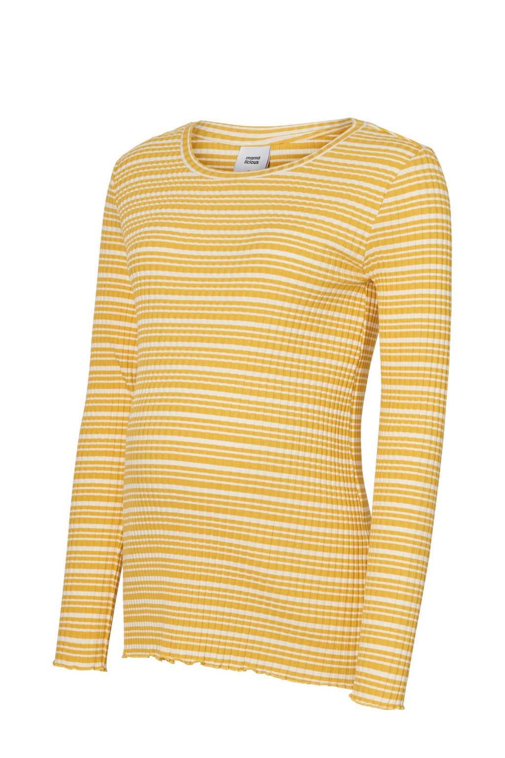 MAMA-LICIOUS zwangerschapslongsleeve Lanja met strepen geel, Geel
