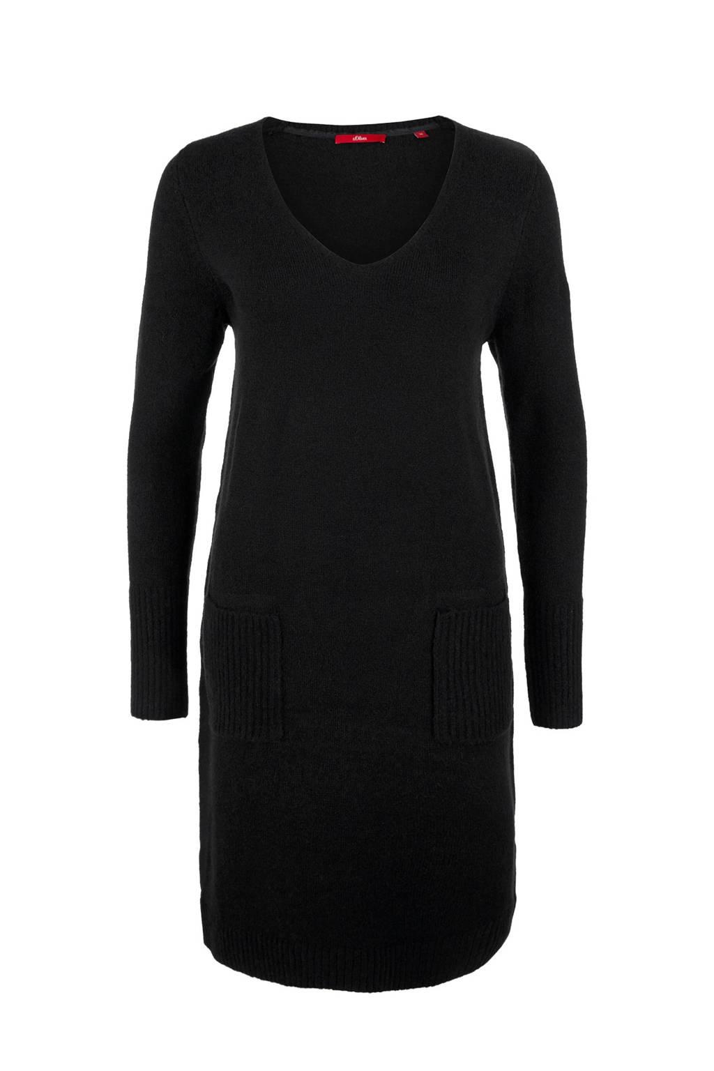 s.Oliver gebreide jurk met wol zwart, Zwart