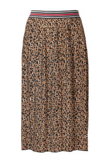 plissé rok met panterprint bruin