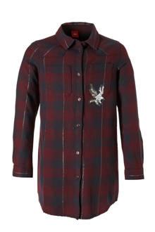 lange geruite blouse rood