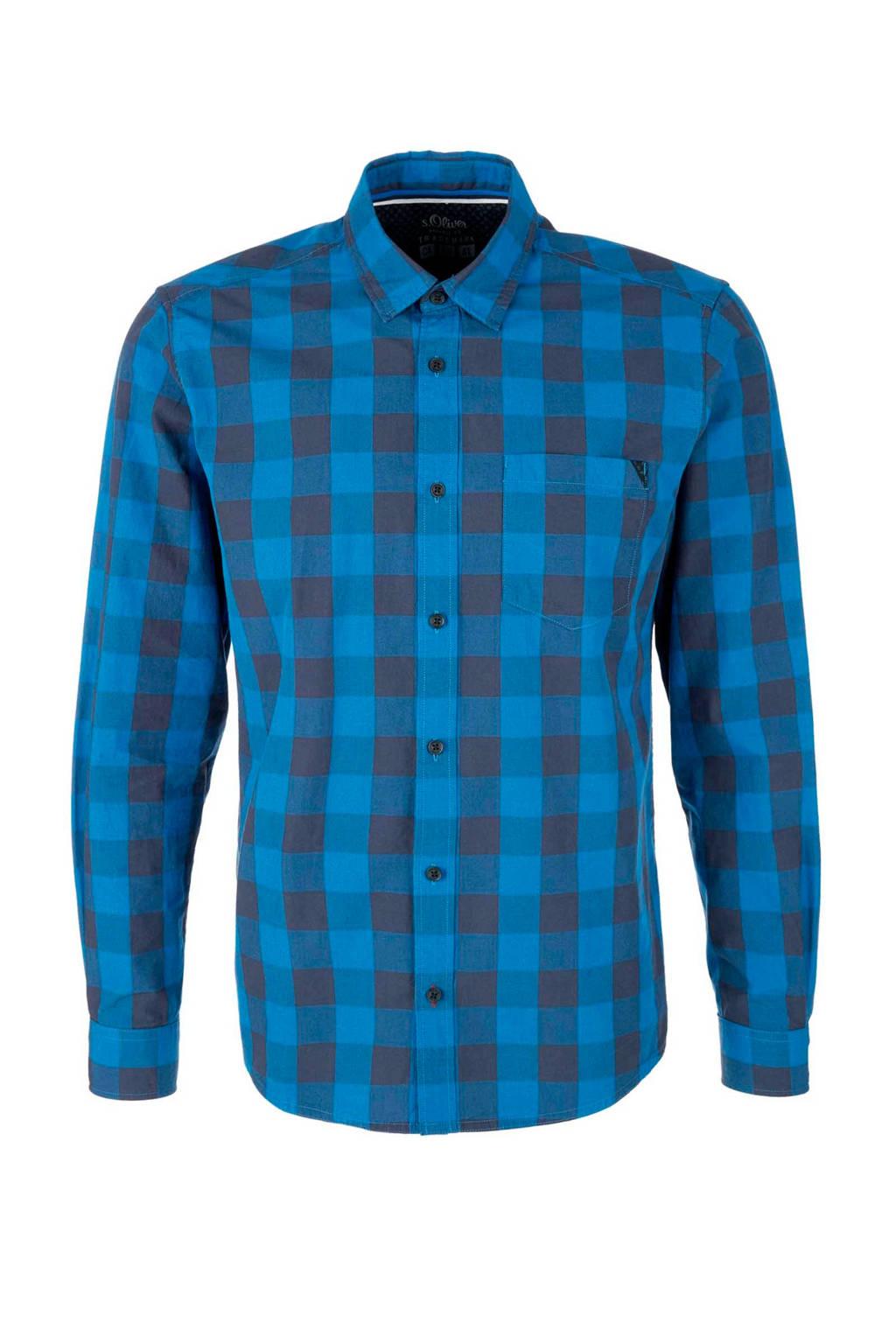 s.Oliver regular fit overhemd met ruiten blauw, Blauw/grijs