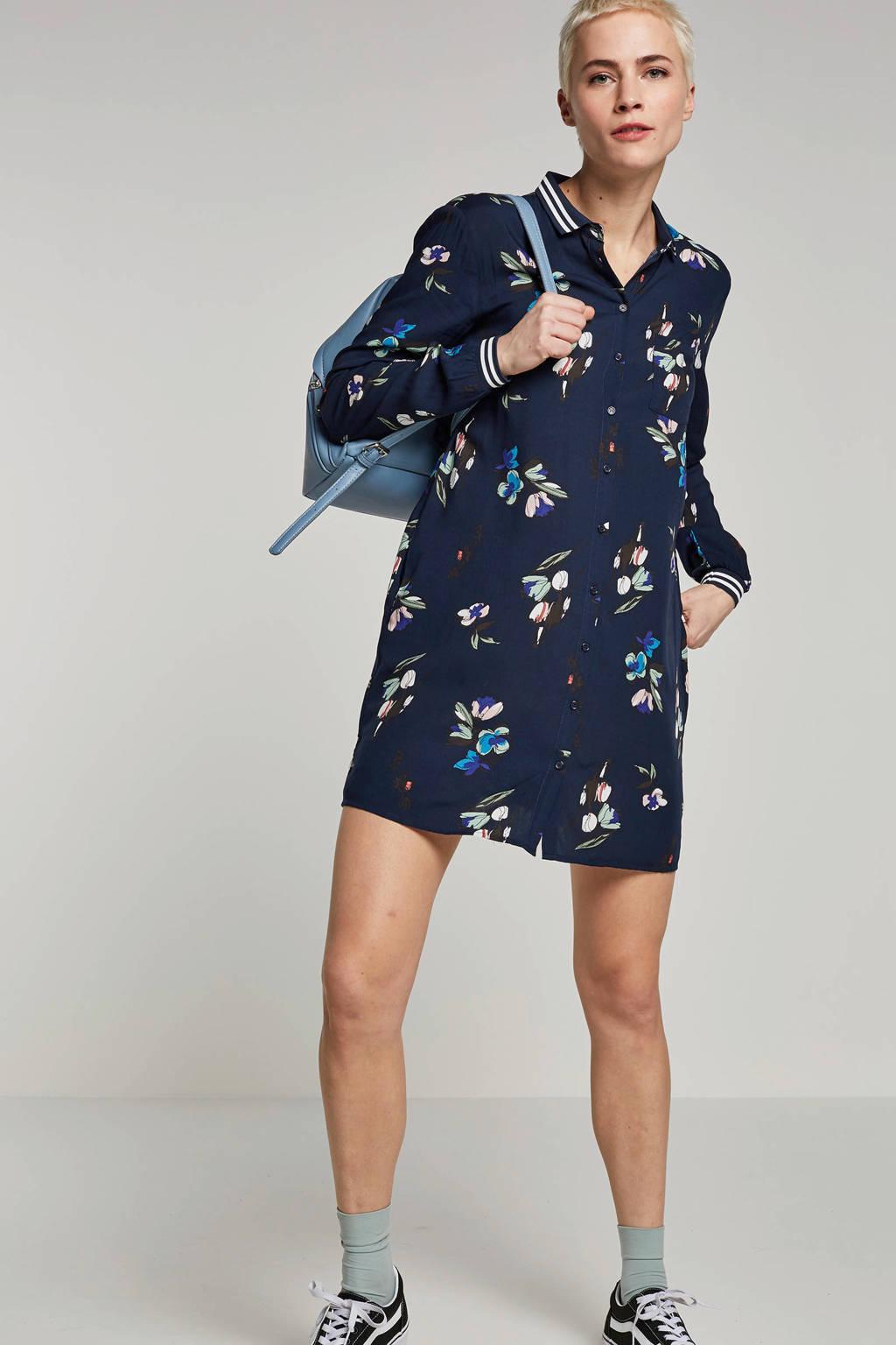 FREEQUENT blouse met bloemenprint, Donkerblauw