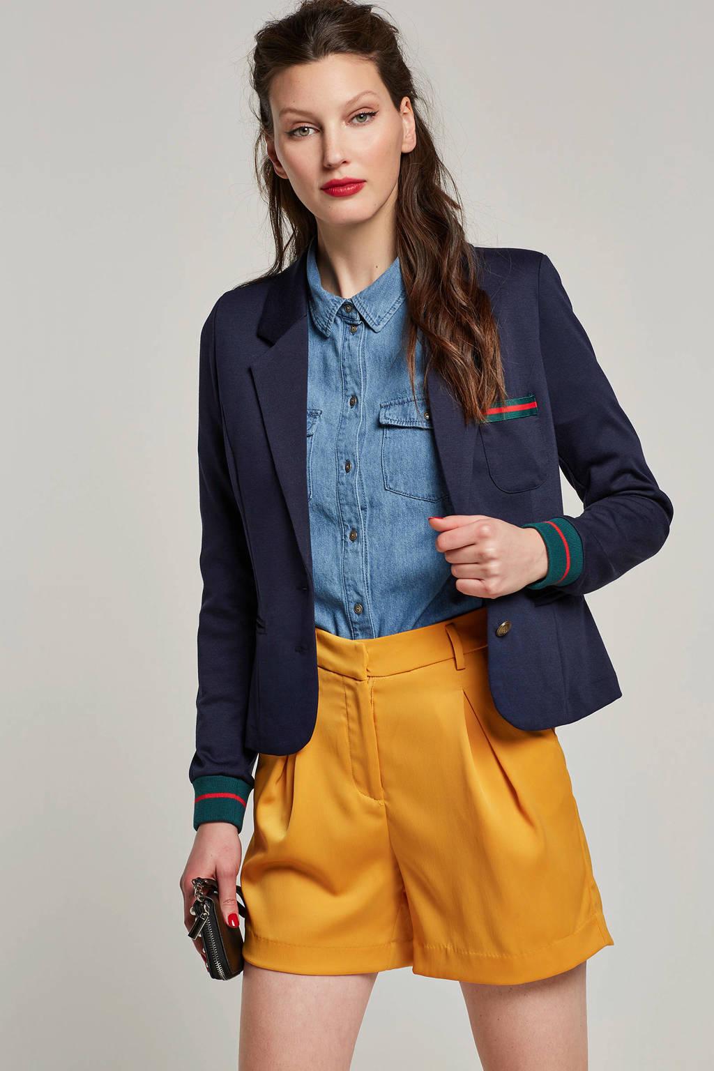 FREEQUENT blazer met gekleurde rib boorden en borstzak, Donkerblauw/rood/groen