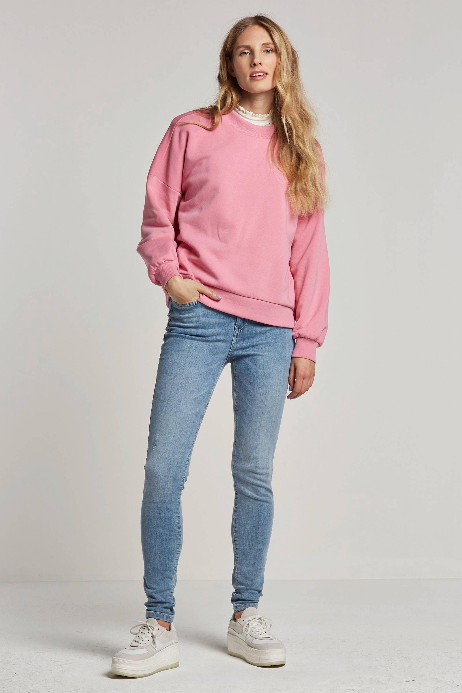 JACQUELINE DE YONG gemêleerde high waist skinny jeans lichtblauw