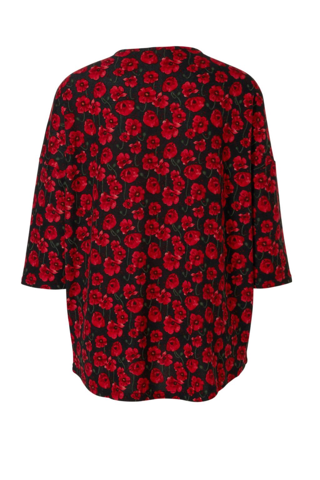 JACQUELINE DE YONG trui met bloemendessin, Rood/zwart