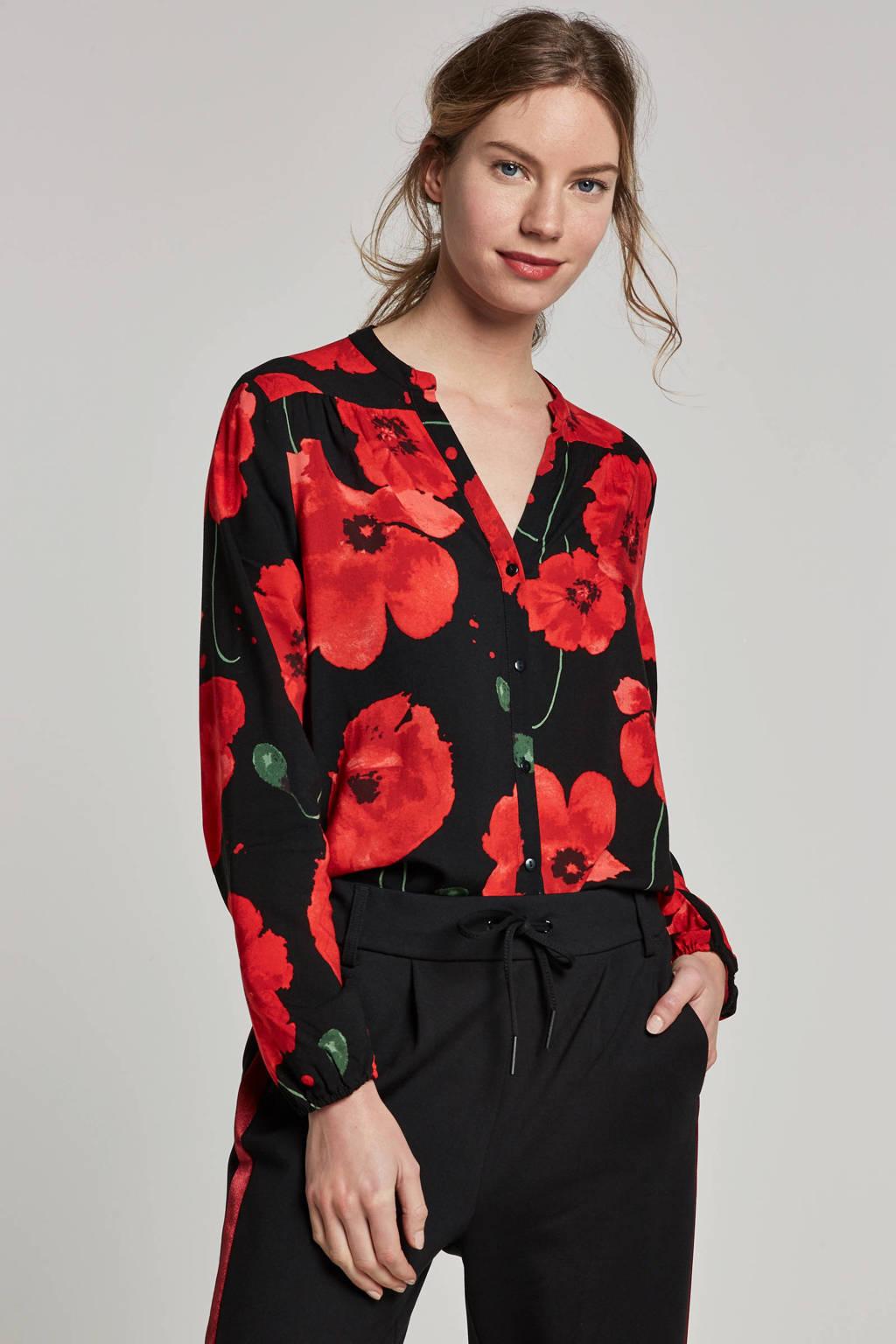JACQUELINE DE YONG gebloemde blouse, Zwart/rood