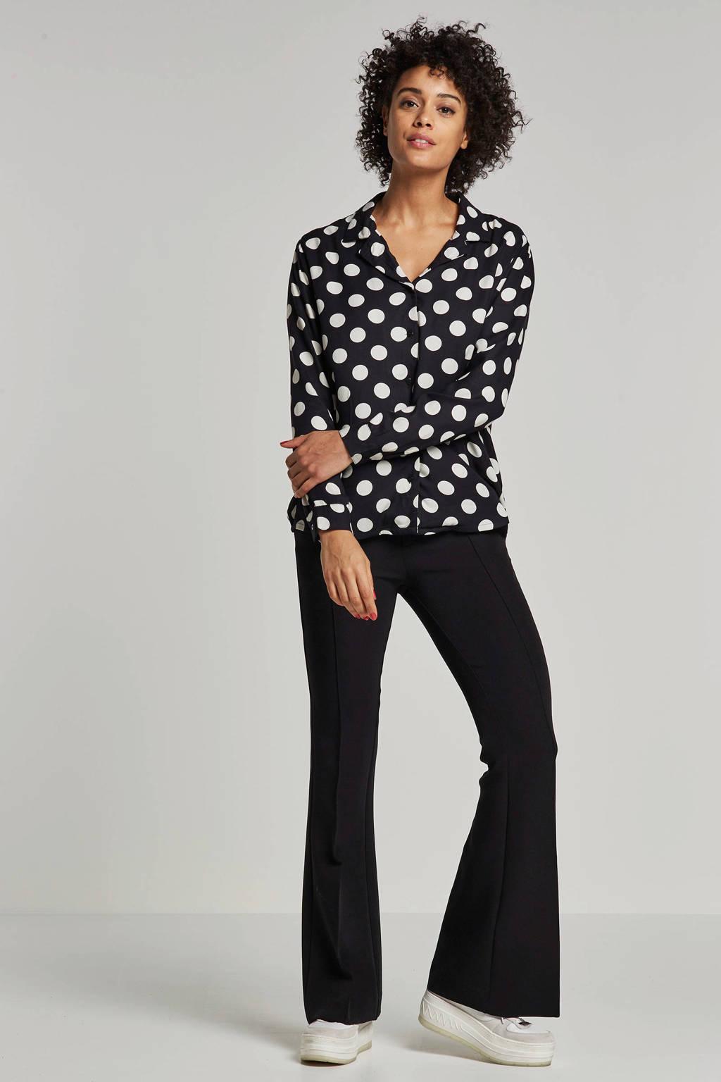 JACQUELINE DE YONG gestipte blouse, Zwart/wit