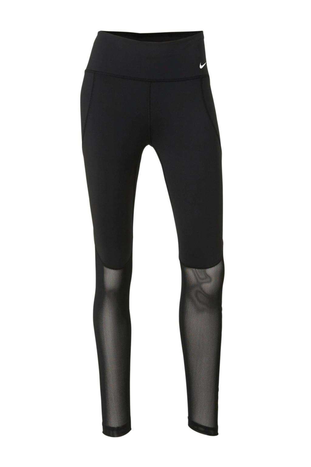 Nike 7/8 sportbroek met printopdruk/mesh zwart, Zwart/wit