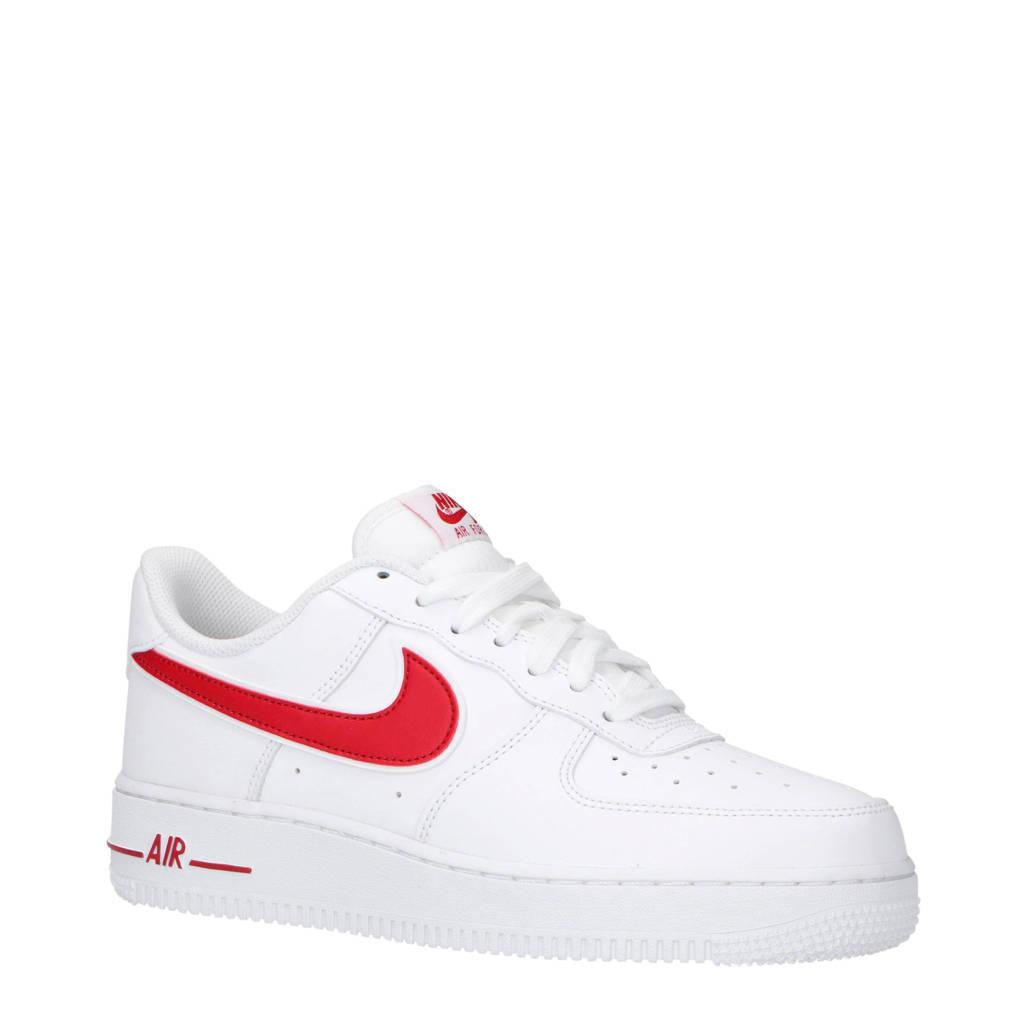 Nike  Air Force 1 '07 3 sneakers leer wit/rood, Wit/rood