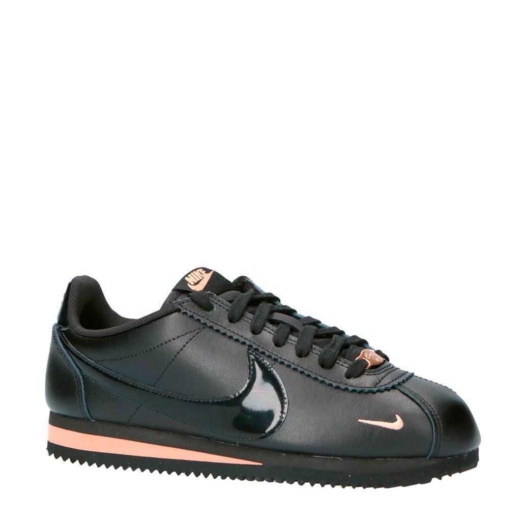 Nike  Classic Cortez Premium leren sneakers zwart, Leer/roze