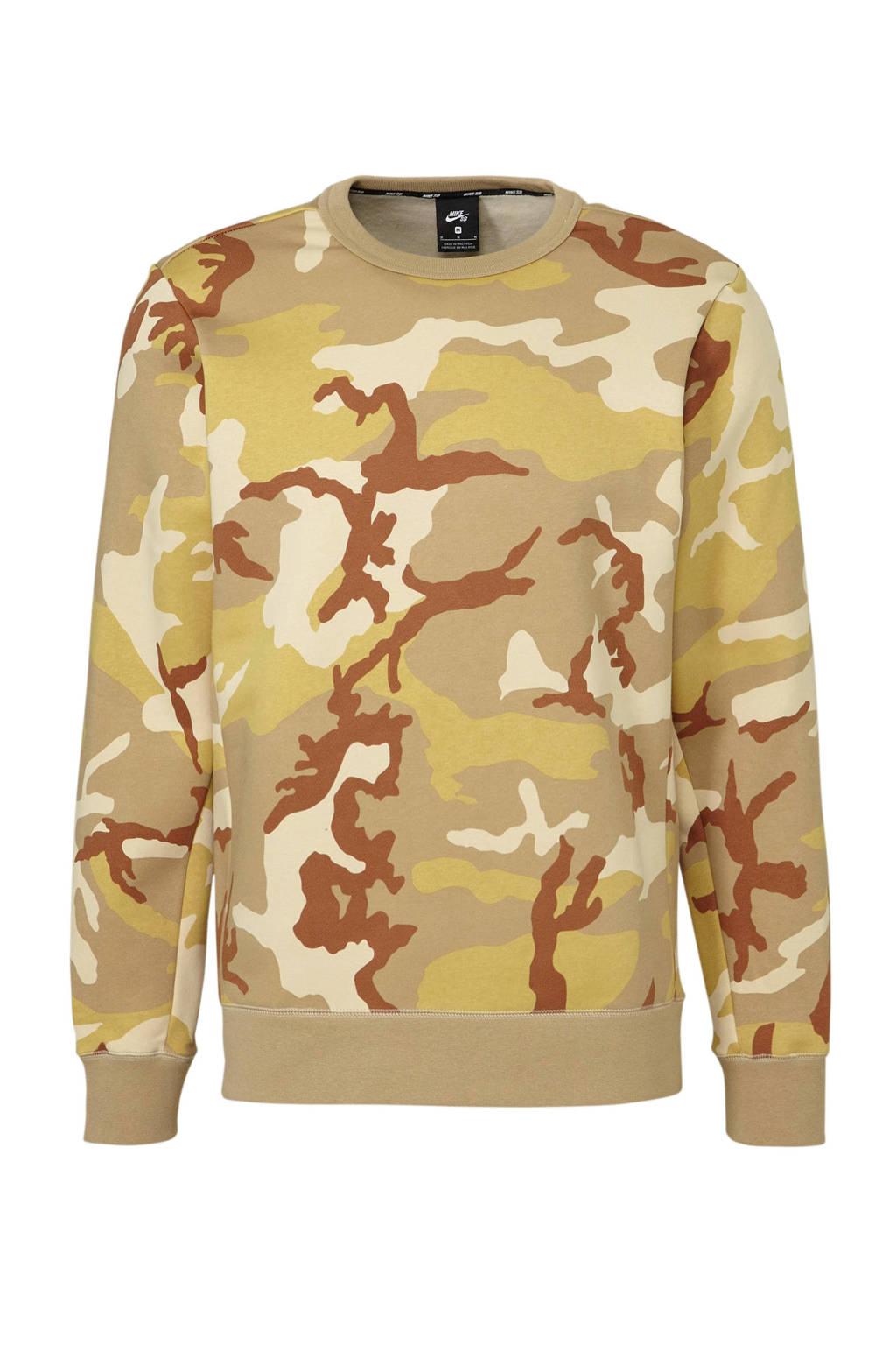 Nike   sweater camouflage, camel/groen