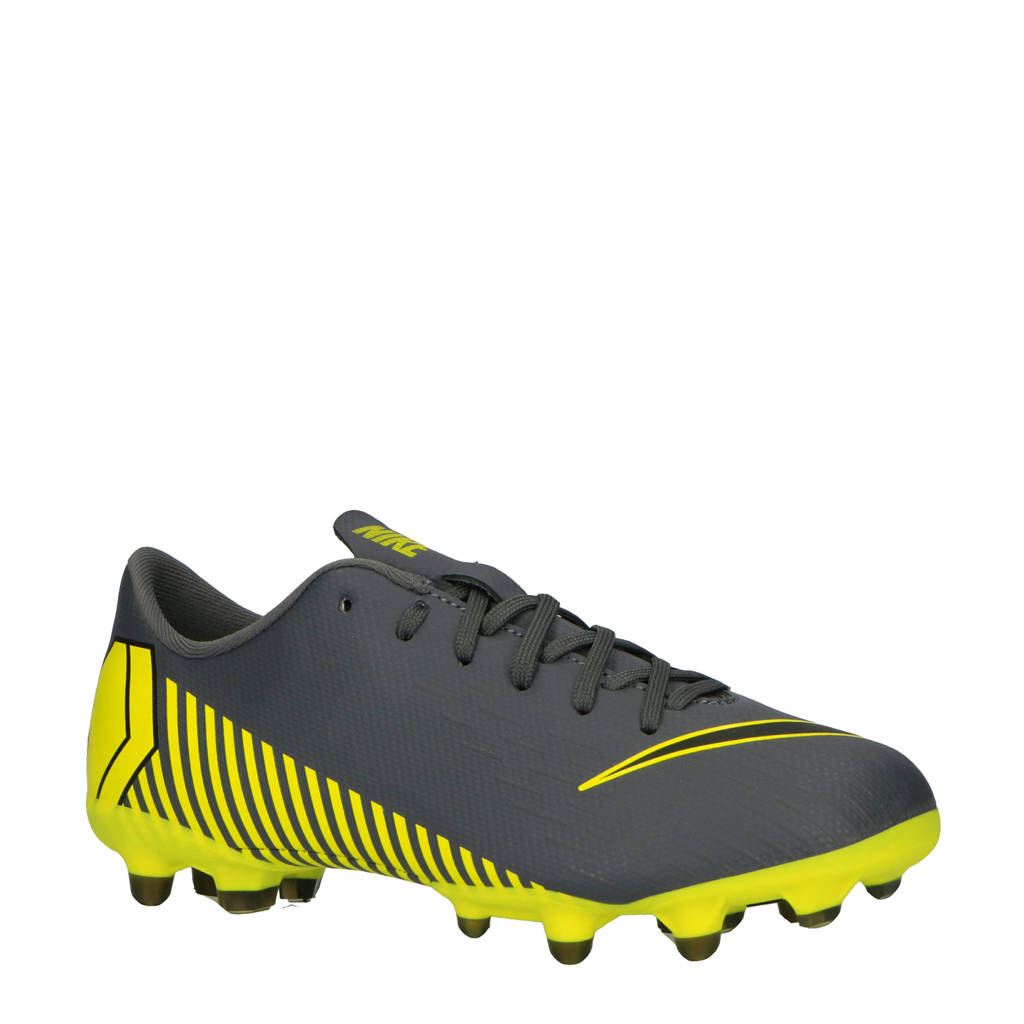 Nike   JR Vapor 12 Academy GS FG/MG voetbalschoenen, Grijs/geel