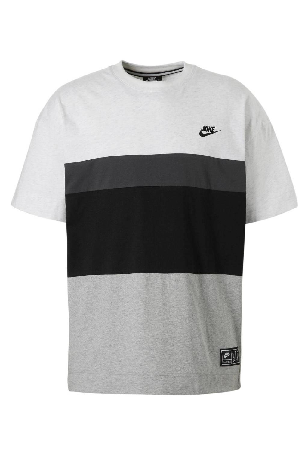 Nike   sport T-shirt grijs, Grijs/zwart