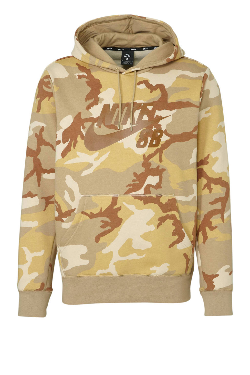 Nike   hoodie camouflage camel, Camel/groen camouflage