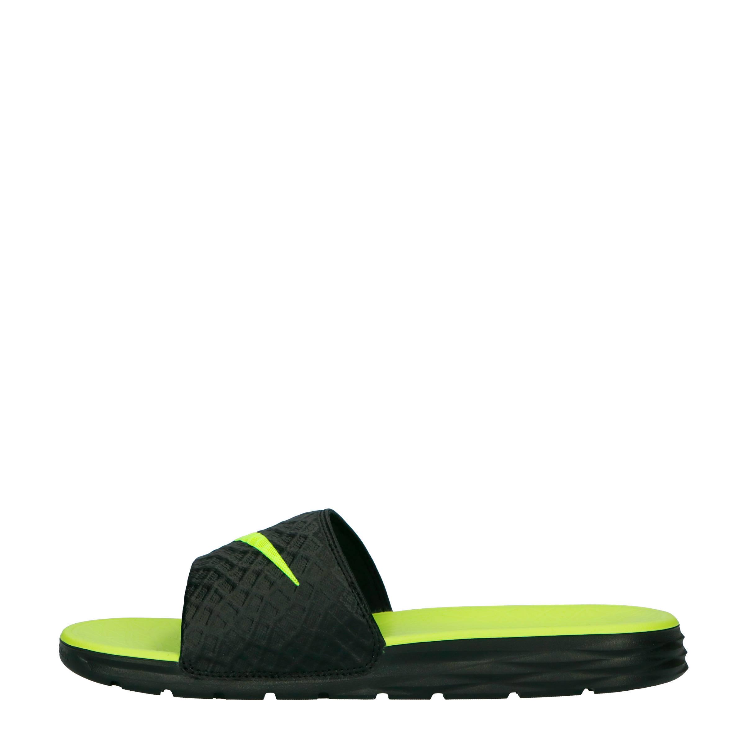 7a6004537dc Nike slippers Benassi Solarsoft zwart/geel | wehkamp
