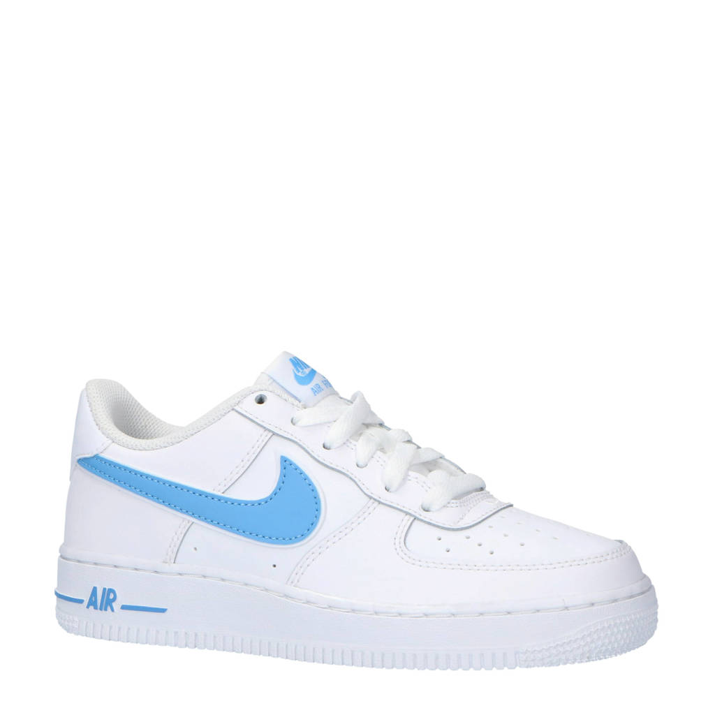 Nike  Air Force 1-3 (GS) sneakers leer wit/lichtblauw, Wit/lichtblauw