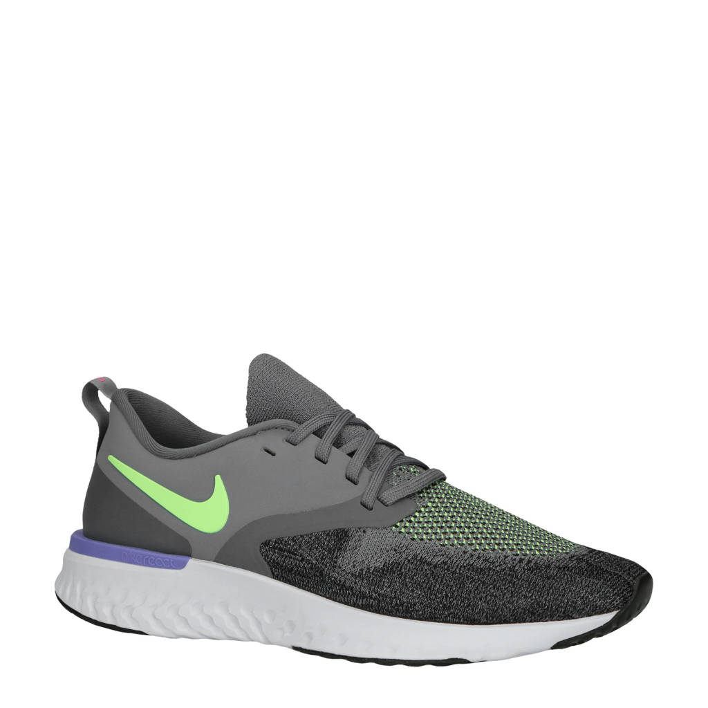Nike   Odyssey React 2 Flyknit hardloopschoenen blauw/lime, Lichtblauw/lime