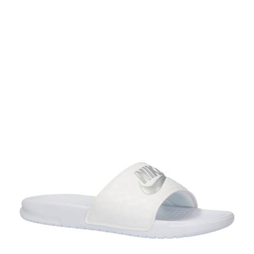 Nike slippers Benassi JDI wit/zilver metallic kopen