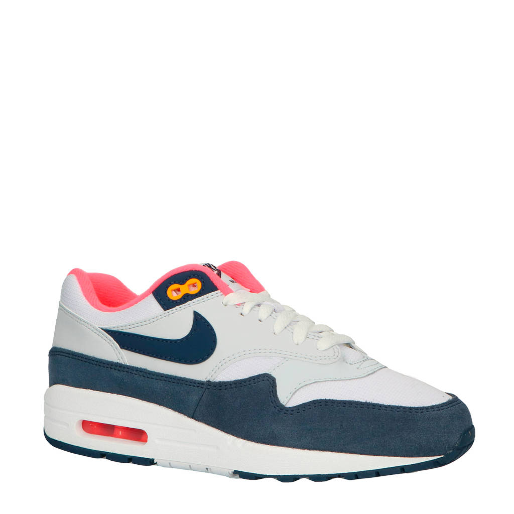 f9a1506a370 Nike Air Max 1 sneakers wit/blauw/roze, Wit/donkerblauw