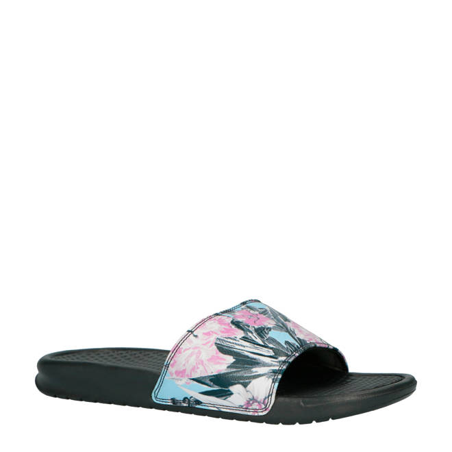 finest selection 4f2f6 0f84a Nike slippers Benassi JDI Print bloemenprint antracietroze