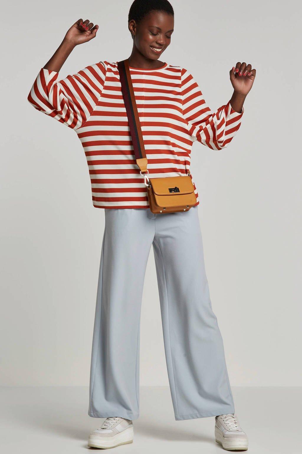 Inwear gestreepte longsleeve ecru, Ecru/bruin