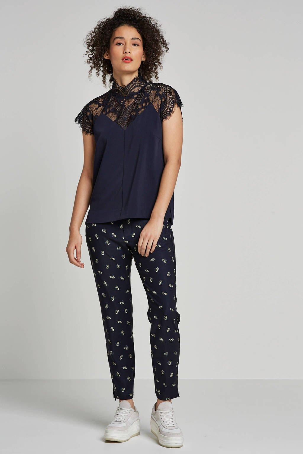 Inwear kanten top donkerblauw, Donkerblauw