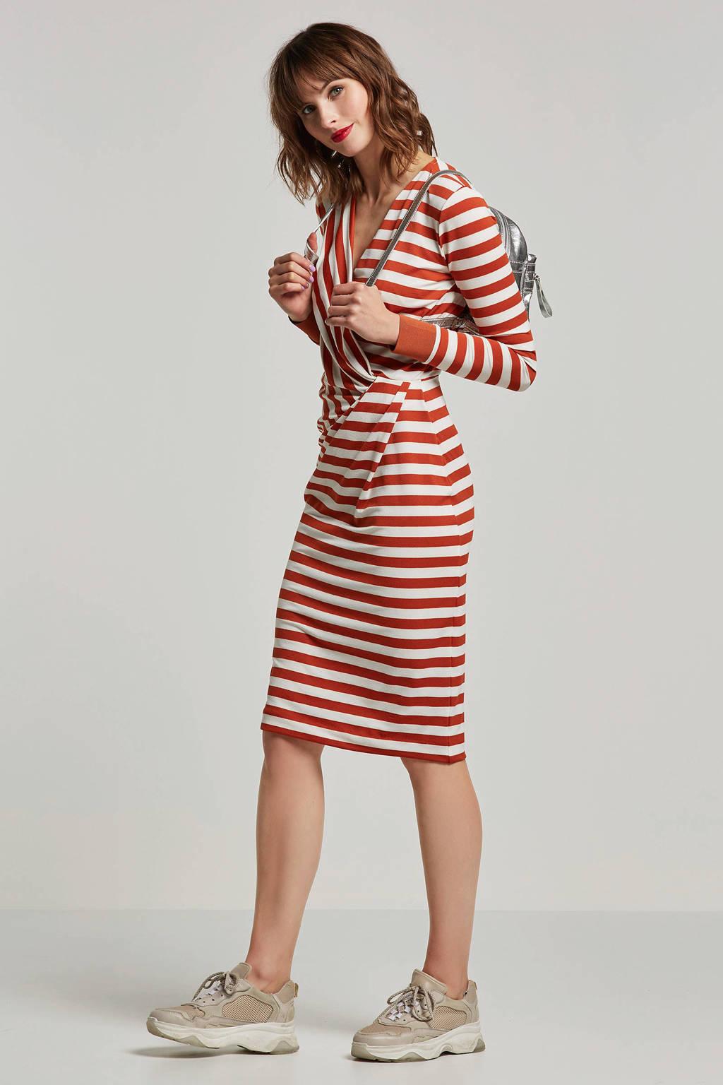 Inwear gestreepte jurk oranje, Oranje/ecru