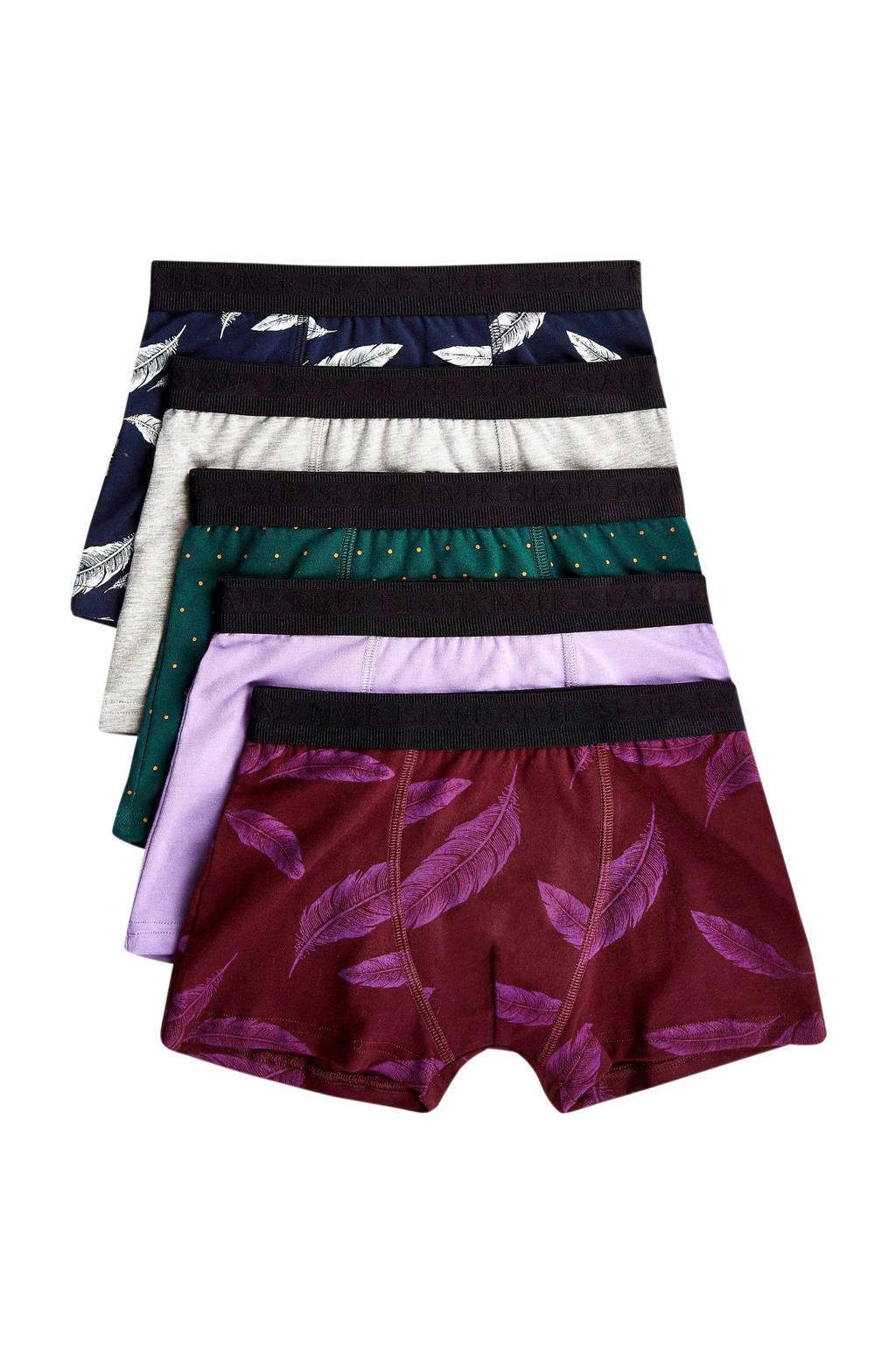 River Island Junior  boxershort (set van 5), rood/paars/groen
