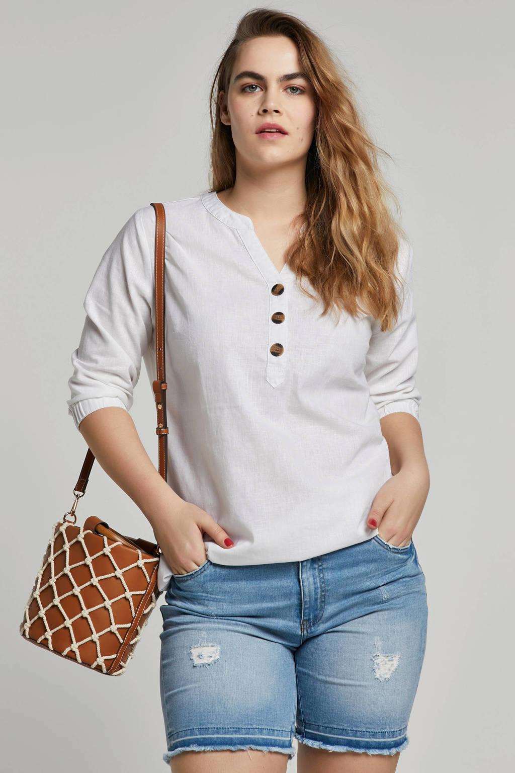 whkmp's great looks linnen/katoen blouse, Linnenwit