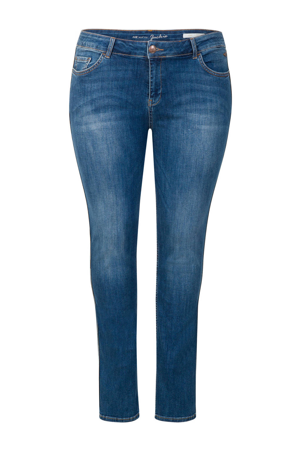 Miss Etam Plus high waist slim fit jeans blauw, Blauw