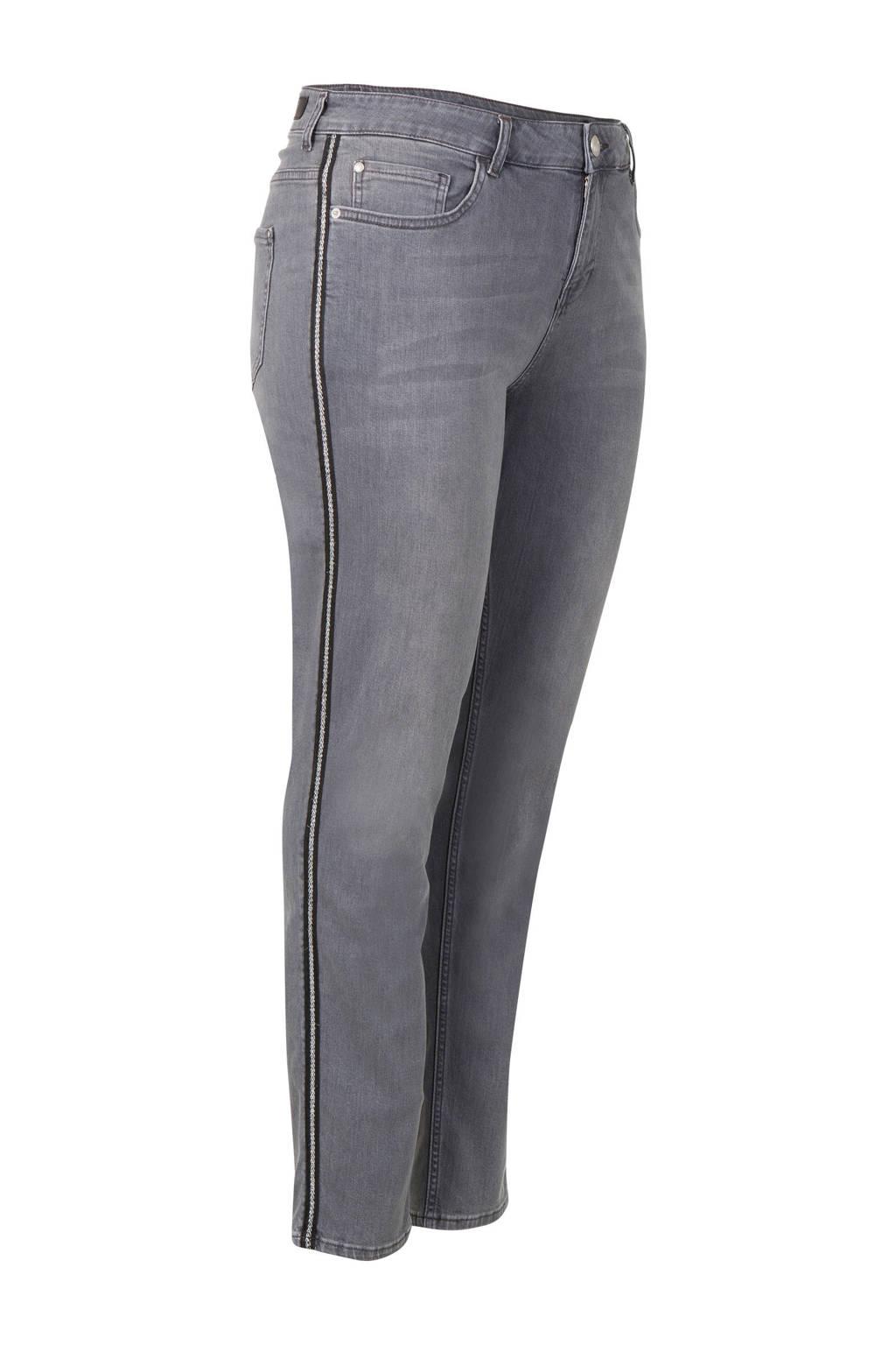 Miss Etam Plus slim fit jeans Jackie met zijstreep 32 inch grijs, Grijs
