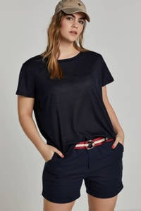 whkmp's great looks loose fit short met linnen donkerblauw, Donkerblauw