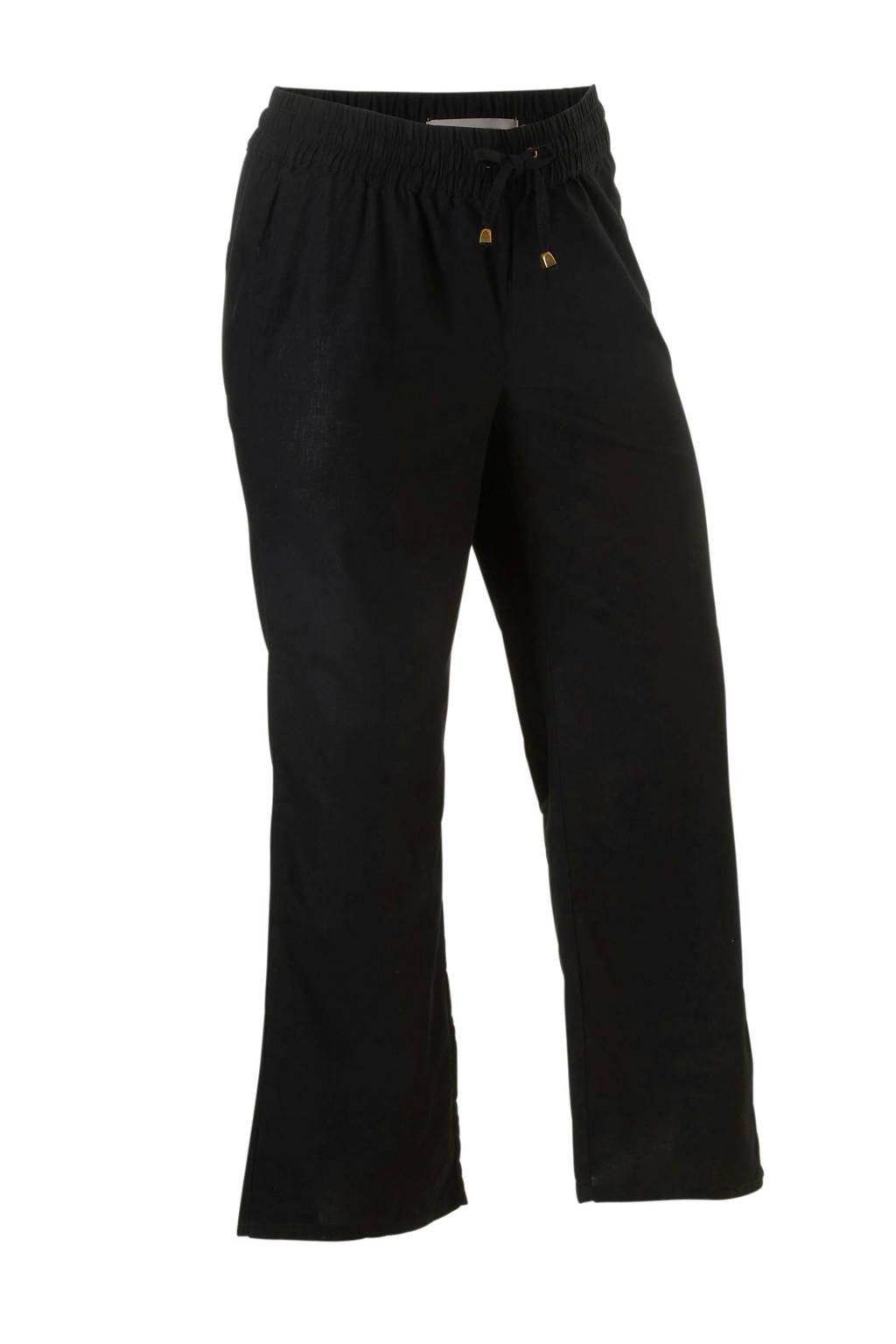 GREAT LOOKS loose fit broek met linnen zwart, Zwart